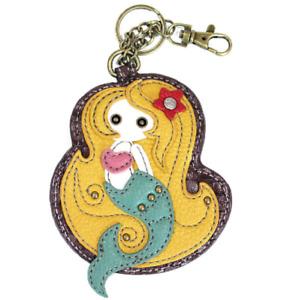 Chala Mystical Mermaid Key Chain Coin Purse Leather Bag Fob Charm New