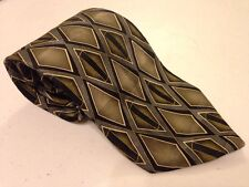 Diamond Pattern Neck Tie Green Black Classic Width Ziggurat Brand Made in USA
