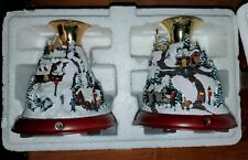 Pair Thomas Kinkade Home for the Holidays Battery Lighted Cottage Candle Holder