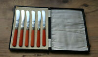 Vintage Boxed Set Six Composite Handled Butter Knives EPNS Blades