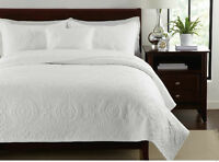 Vintage Cotton Quilted Bedspread Coverlet Throw Blanket -3pcs Double Queen King