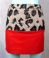 BALENCIAGA PARIS SIZE 34FR 6-8 UK WOOL & LAMBS LEATHER MINI SKIRT AUTHENTIC