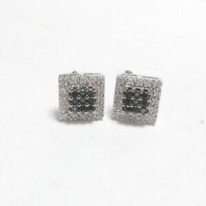 Estate 14K White Gold White Brilliant Cut And Black Diamond Earrings 0.40 Cts