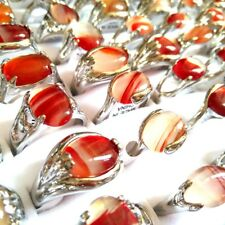 50pcs Amber Nature Stone Silver Tone Rings Lady Charm Beauiful Rings Wholesale