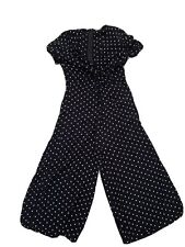 Womens Asos 3/4 Jumpsuit Black And White Dots
