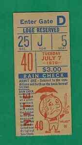 1970 NEW YORK METS VS. ST. LOUIS CARDINALS TICKET STUB JOSE CARDENAL 3-3 2 RBI