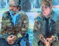 Original Good Will Hunting Bench Scene Abstract Pop Art Painting Robin Williams