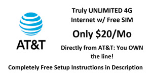 FREE $20/MO AT&T UNLIMITED 4G LTE DATA PLAN FOR HOTSPOT / ROUTER- Your Own Line
