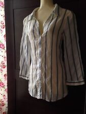 Jaeger 3/4 Sleeve Collared Striped Tops & Shirts for Women