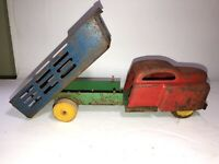 Very Old Vintage Toy Metal Pressed Steel Farm Dump Truck - Red Green Blue Yellow