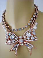 BETSEY JOHNSON ROSE GOLD PRINCESS BOW CRYSTAL & PEARL STATEMENT NECKLACE
