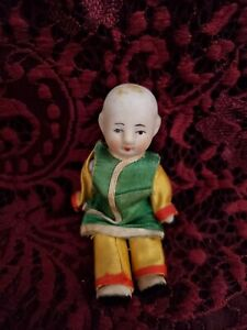 Antique/Vintage Japanese Miniature All Bisque Jointed Asian Doll ORG Clothes TLC