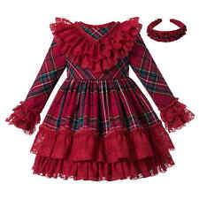 Traditional Girls Red Tartan Dresses Christmas Party Clothes Ruffled Long Sleeve