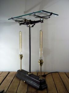 Unique Antique Cast Iron Industrial/Steampunk Side/Occasional/Console Table/Lamp