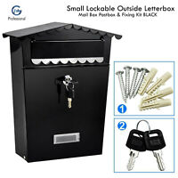 Small Lockable Outside Letterbox Letter Post Mail Post Box Postbox & Fixing Kit
