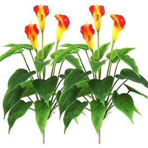 "17"" Artificial Calla Lily Silk Plant Bonsai Flowers Plants; 2 Pack (Orange)"