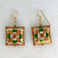 "Vintage Peach Cloisonne Floral Gold Tone Dangle Earrings 7/8"" Square Metal"
