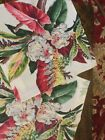 """VINTAGE Tropical BARKCLOTH Pink Cream Pillow Cover - 15.5"""" X 15.5"""" Flowers"""