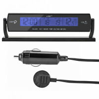 12V Car LED Digital Clock In/Outdoor Temperature Thermometer Voltage Meter