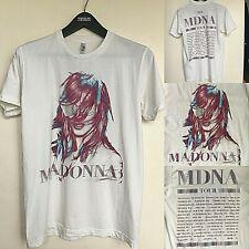 Madonna Tour MDNA Concert Tee Shirt blanco tamaño mediano 100% Algodón Peinado