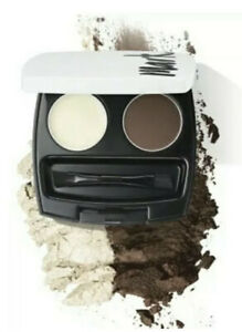 Avon Mark Perfect Brow Kit With Mirror Styling Duo  Deep Brown Powder & Wax