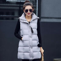 Women's Winter Jacket Down Cotton Padded Casual Long Hooded Vest Coat