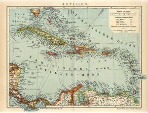 1912 ANTILLES CUBA JAMAICA PUERTO RICO BAHAMAS HAITI Antique Map dated