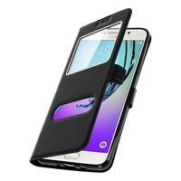 Housse Etui Coque Protection Double Fenetre Noir pour Samsung Galaxy J7 2016