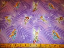 Tinkerbell & Fairy Friends Leaves & Butterflies Purple Cotton Fabric BTY