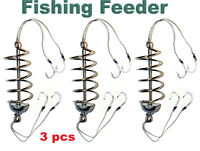 3pcs Carp Fishing Spring Feeder 15g SET, Fishing Hook #6, Coarse Fishing Tackle