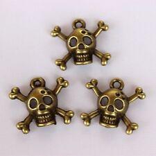 50pcs Bronze Alloy Skull and Cross Bone Charm Pendant 15*16mm