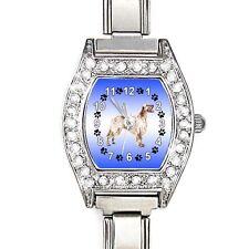English Setter CZ Womens Stainless Steel Italian Charms Bracelet Watch BJ1137