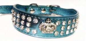 Dog collar blue pink sparkly crown design pet animal cat faux leather lead gift