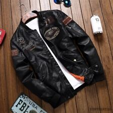 Men's Air Force Suit Motorcycle Leather Jacket Flight Embroidered Coat Autumn