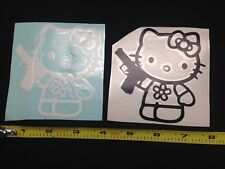 "x2 Hello Kitty Gun 4"" BLACK WHITE Vinyl Sticker Decal Car Truck window control"