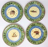 Bella Ceramica Timberline 4 Salad Plates Fish Bear Canoe Log Cabin *FREE SHIP!*