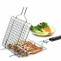 US Portable BBQ Barbecue Grilling Basket Roast Folder Tool with Wooden Handle