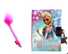 NUOVO Disney Elsa Kids segreto Frozen Diary con serratura e Marabou Penna Regalo Di Natale Ideale