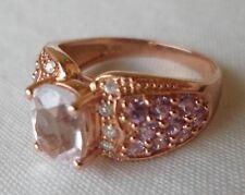 10K Rose Gold Morganite Pink Sapphire Diamond Ring - 4.4 grams, Size 7