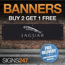 Jaguar Logo Black garage workshop PVC banner sign (ZA031)