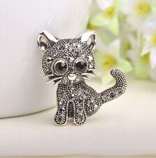New Fashion Jewelry Crystal Rhinestone 925 Silver Plated Cute Cat Brooch Pin