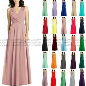 Long Chiffon Wedding Evening Formal Party Ball Gown Prom Bridesmaid Dresses 6-26
