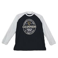 Guinness Dublin Graphic Raglan Tee T Shirt Mens M Medium Black Long White Sleeve