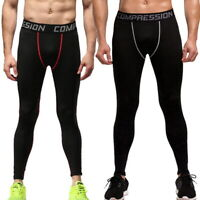 Men's Skinny Leggings Compression Jogging Running Pants Sports Trainers Pants US