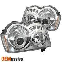 Fits 05-07 Grand Cherokee Dual Halo Projector LED Chrome Headlights Lamps Pair