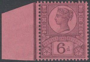 187 JUBILEE SG208 6d PURPLE ON ROSE RED PAPER MINT HINGED MARGINAL K37(1)