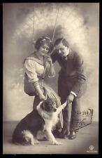 EDWARDIAN COUPLE with FARM COLLIE DOG. Old real Photo postcard 1910s