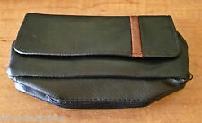 "Kingstar PU Leather 7"" Black Brown Stripe Pipe Tobacco Pouch - Holds 4 Pipes!"
