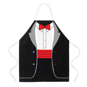 Attitude Aprons Fully Adjustable Tuxedo Apron, Black