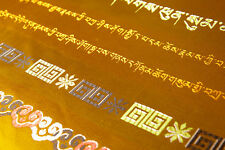 "100"" TIBET 8 HOLY SIGNS  GOLDEN SILK SCARF OFFERING KATAK KHATA KATAS HADA ="